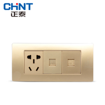 CHiNT electrician 118 Type wall socket NEW5D steel frame champagne dazzle gold three a plug phone computer