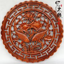 Custom Dongyang wood carving camphor solid wood Fu pendant pendant wall hanging Chinese antique decoration crafts 58 round