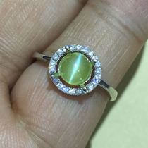Color treasure natural gold green cats eye gem ring face bare stone ring to buy cats eye gem to send silver care