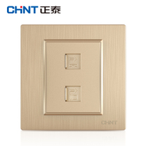 Zhengtai switch socket panel 7L brushed gold telephone computer socket panel 86 socket