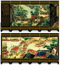 Antique lacquer small screen decoration Qingming River map Chinese wind characteristics abroad gifts to send foreigners friends