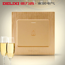 Delixi switch socket champagne gold broshed panel wall power switch doorbell switch