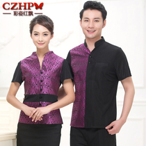 Hotel workwear summer female coffee restaurant fast food restaurant uniforms catering hot pot shop waiter short-sleeved new