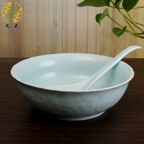 Ru kiln Celadon tableware soup bowl spoon big bowl spoon combination Chinese classical fresh ceramic soup pot home hotel