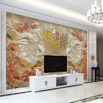Stone plastic bamboo fiber wall integrated wall panel TV background wall decoration high light jade carving 3D background fast board