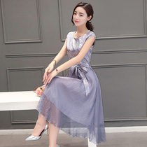 2019 summer new chiffon 35 years old to 45 dress waist was thin temperament long summer dress female