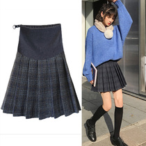 Pregnant women skirt spring and autumn tide mother winter a word skirt pants anti-light bottom woolen plaid bag hip pleated skirt