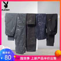 Playboy autumn and winter plus velvet padded pants men camouflage sports waterproof mountaineering ski soft shell pants male