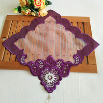 Foreign trade Korean hand-beaded tablecloth towel European-style fabric embroidery flower square vase pad jewelry pad