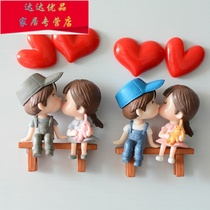 Anime couple refrigerator paste wedding tile cartoon cute creative Korea 3d three-dimensional wedding room decoration arrangement