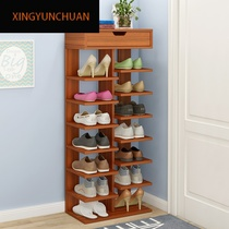 Multi-layer shoe rack simple home shoe cabinet economy-saving space home people imitation solid wood color door small shoe cabinet dormitory