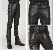 Increase code autumn winter Fashion trend Korean version of Skinny Mens pants mens trousers tight mens leather pants small locomotive pants