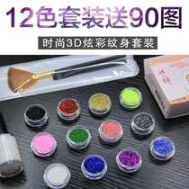 Small fresh crystal epoxy child tattoo glitter color stickers glitter glue sequins tattoo stickers lasting shoot write