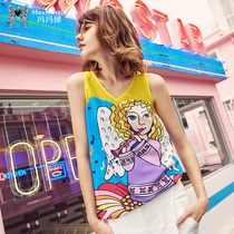 Mama 2019 summer new European and American Printing casual wear loose vest female chiffon sleeveless T-Shirt Shirt
