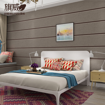 Modern simple thickened deer leather velvet marble wallpaper Non-woven cross wide striped wallpaper living room bedroom background wall