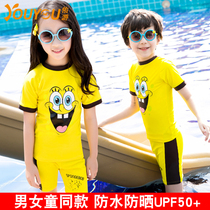 Youyou boys and girls split Swimsuit 2017 New childrens swimsuits cute cartoon SpongeBob bathing suit