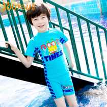 Youyou sunscreen children swimsuit boy split boxer pants boy in the Big children swimsuit with a swimming cap hot spring bathing suit