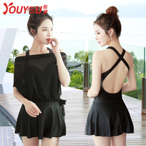 The dress-style steel bracket size chest gathers sexy swimsuit female conservative flat angle shade swimming straps dress yarn