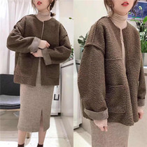 chic fur one lamb wool coat female Winter European goods thick short paragraph loose double-sided wear furry coat