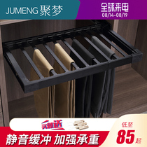 Pants rack telescopic multi-functional household wardrobe trouser pull-up trouser rack pull basket west trouser rack cabinet in the hardware pants clip