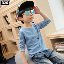 Zuo Mengdan Boy long-sleeved T-shirt spring 2019 new childrens bottom shirt top big boy spring Korean plate tide clothes