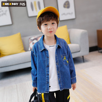 Left West boy denim shirt autumn 2019 New childrens long-sleeved shirt cotton large childrens style Korean version of the tide