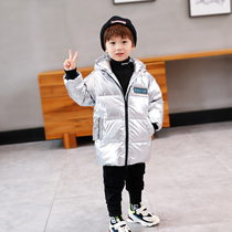 Left West boy down jacket in the long section of the childrens white duck down jacket thickening in the Big childrens winter 2019 New