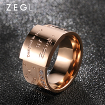 Plated 18k rose gold wide face ring Female custom index finger ring fashion personality titanium steel Europe and the United States Tide mens jewelry