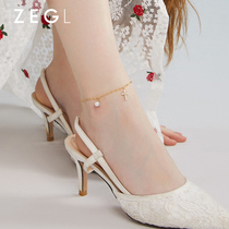 ZENGLIU niche design cross anklet female models sexy cold wind Korean version of the simple personality Network red foot chain
