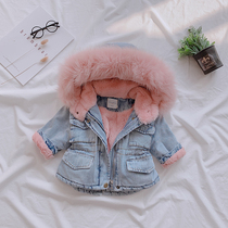 Girls denim plus velvet padded cotton Winter new Korean version of the large fur collar cotton female baby coat warm