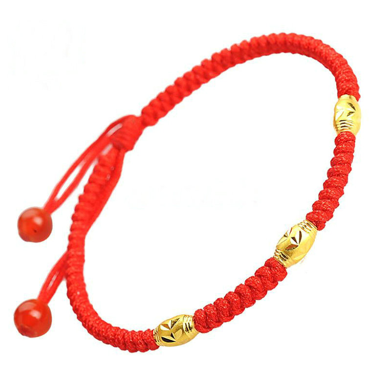 This years red rope gold beaded chain female K gold hand-woven foot chain couple transport beads to avoid evil red rope foot chain male.