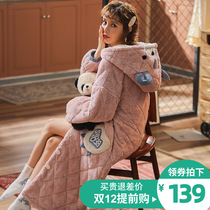 Nightgown women autumn and winter coral velvet three-layer padded jacket thickened warm nightgown bathrobe pajamas