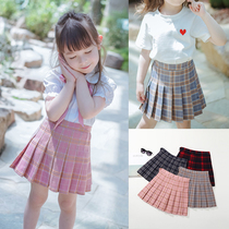Girls skirt 2019 spring and autumn new childrens skirts in the Big children pleated skirt students skirt college wind skirt pants
