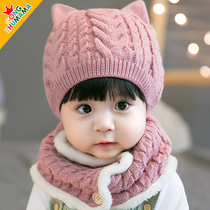Baby hat warm thickened collar wool cap 3-6-12-28 months boys and girls hat autumn and winter 2
