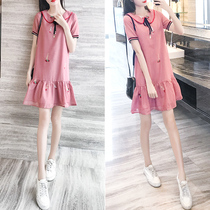 Skirt female Summer 2019 new womens tide foreign thin fashion doll collar lady a word dress temperament year