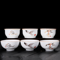 Household white porcelain kung fu teacum creative hand-painted small fresh ceramic tasting cup single cup.