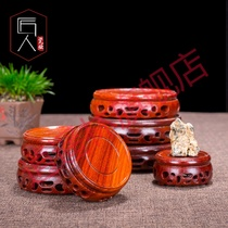 Jade ornaments seat bottom solid wood Buddha pot teapot round gourd vase crafts mahogany base round
