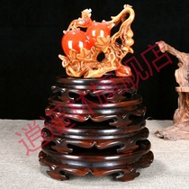 Fish tank base bracket solid wood Buddha stove crafts gourd vase stone flower pots odd stone ornaments wooden seat