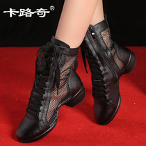 Card Road Qi spring and summer dance shoes female new leather sailor dance boots adult dance soft bottom with square dance shoes
