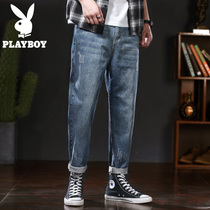 Playboy 2019 autumn mens jeans loose straight wide leg pants Tide brand mens pants Korean Daddy pants