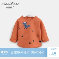 Qi Qi bear spring 2019 new boys and girls cartoon cotton long-sleeved T-shirt baby baby round neck shirt