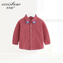 Qi bear Male and female baby plaid shirt infant long sleeve shirt lapel sticker embroidered Spring cartoon top