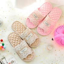Fabric silk home slippers European-style court spring and summer ladies indoor wooden floor home lace family couple.