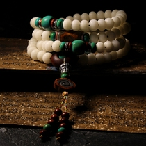 Natural white jade bodhi root Buddha beads hand-stringed male bracelet women open tibetan beads necklace to play 108.