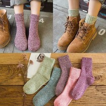 5 pairs of socks female autumn and winter in the tube Korean version of the Terry socks students ladies socks Pure Color plush thick warm socks