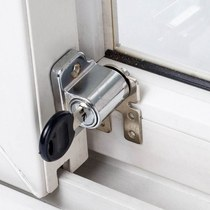 。 Push and pull window lock aluminum alloy door and window buckle baby safety plastic steel window lock security lock push and pull anti-theft net