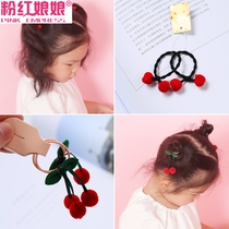 Festive red childrens hair rope cherry Ball Ball head rope Korean headdress does not hurt the girl cute flower hair accessories
