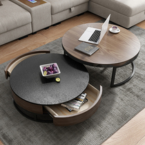 Size round Nordic round coffee table table living room tea table simple Fire Stone tea table home TV cabinet combination