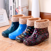 Velvet Rain shoes lady short Barrel warm boots anti-skid womens water shoes in the barrel rubber shoes adult cotton &; Boots shoes