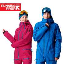RUNNINGRIVER running outdoor single wild snow windproof breathable mens womens one-piece ski jacket